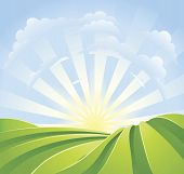 pic of sun rays  - Illustration of idyllic green fields with sunshine rays and blue sky - JPG