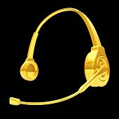 3D Headphone In Gold