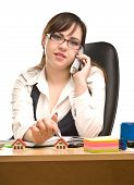 Beautiful Businesswoman Calling By Phone