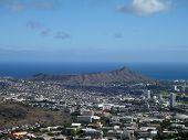Diamondhead And The City Of Honolulu Of Oahu On A Nice Day