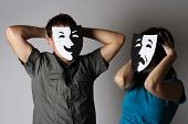 Man And Woman In Theater Black And White Emotions Masks, Half Body