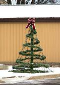 A Decorative Wire Frame Christmas Tree