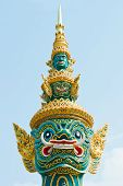 Head Of Green Demon Warrior In The Ramayana