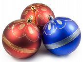 Three Christmas Balls, Red And Blue