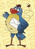 Blue bird with an envelope