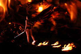 stock photo of hade  - fallen angel in the hell may be use for inferno concept - JPG