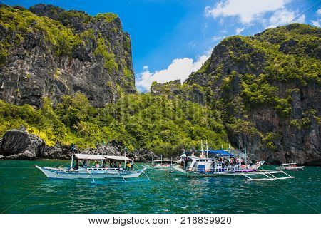 Scenic Landscape With Mountain Islands And Blue Lagoon El