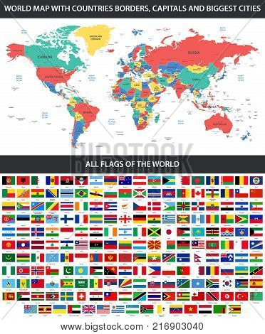 All flags of the world in alphabetical order and detailed world map all flags of the world in alphabetical order and detailed world map with borders countries gumiabroncs Gallery