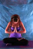 Woman In Half Lotus Yoga Prayer Position