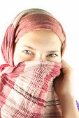 Teen Girl Muffled In A Shawl