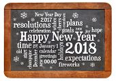 Happy New Year 2018 word cloud - white chalk text  on a vintage slate blackboard isolated on white poster