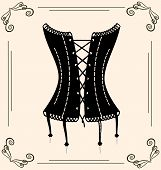 picture of corset  - on vintage background is outlines lady - JPG
