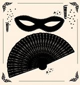 stock photo of mummer  - on vintage background is outlines carnival mask and fan - JPG
