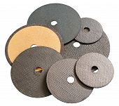 foto of abrasion  - some various abrasive disks for metal cutting - JPG