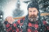 New Year Man In Snowy Cold Forest. poster