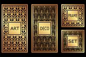 Vintage Retro Frames Set In Art Deco Style. Template For Design. Vector Illustration poster
