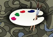 image of mona lisa  - Wooden art palette with blobs of paint and a brush 