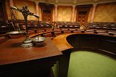 stock photo of scales justice  - Symbol of law and justice in the empty courtroom law and justice concept - JPG