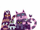 picture of jock  - Group of striped stylized cats with small birds - JPG