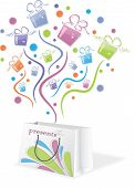 Colorful gifts from package, vector illustration