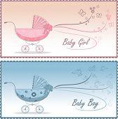 Baby prams, vector illustration