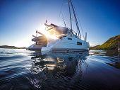 Sailing Yacht Catamaran Sailing In The Caribbean Sea poster