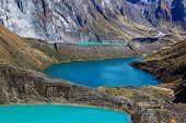 The three lagoons at the Cordillera Huayhuash, Peru poster