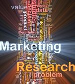 Background concept wordcloud illustration of marketing research strategy glowing light