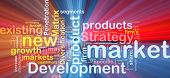 pic of marketing strategy  - Background concept wordcloud illustration of new market development glowing light - JPG