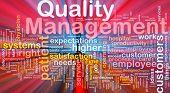 Ilustración del concepto de fondo de la luz brillante de gestión de calidad de negocios
