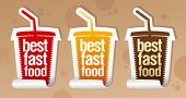 Best fast food stickers in form of take away cup.