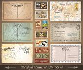 Old style distressed postcards with a lot of post stamps with vintage designs. Rubber stamp and firs
