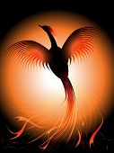 stock photo of risen  - Vector illustration of a flying phoenix risen from the fire - JPG