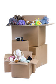picture of stuffed animals  - Several boxes full of stuffed animals - JPG
