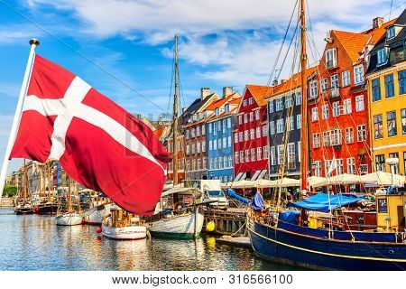 poster of Copenhagen Iconic View. Famous Old Nyhavn Port In The Center Of Copenhagen, Denmark During Summer Su