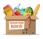 Cardboard Box Full Of Food. Needed Items For Donation. Water, Bread, Meat, Milk, Fruits And Vegetabl poster