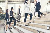 Young Active Business People Walking Up Stair To Go To Work In Modern City. Crowded Group Of People  poster