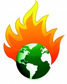 burning eco earth globe illustration design over white