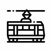 Public Transport Tramway Thin Line Icon. Tramway Tram Street-car, Urban Passenger Transport Linear P poster