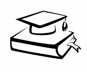 stock photo of graduation cap  - Book and bachelor hat education symbol knowledge concept - JPG