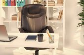 Office Interior. Table In Modern Office Interior. Empty Interior Design. Office Life. Interior Of Of poster