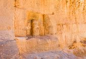 Niche With Ancient Nabatean God Statue In Wall Of Siq Gorge, Petra