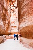 Path Through The Gorge Siq To Antique City Petra