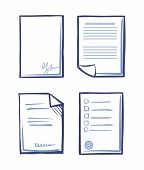 Office Paper And Documentation Monochrome Sketches Outline Isolated Icons Set. Pages With Signatures poster
