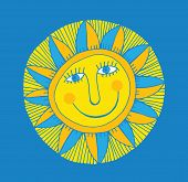 image of ruddy-faced  - vector abstract smiling sun on blue background - JPG