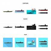 Vector Design Of War And Ship Sign. Set Of War And Fleet Stock Vector Illustration. poster