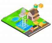 Erect Concept Banner. Isometric Banner Of Erect Vector Concept For Web, Giftcard And Postcard poster