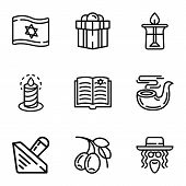 Judaism Objects Icon Set. Outline Set Of 9 Judaism Objects Vector Icons For Web Design Isolated On W poster