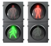 Set Of Pedestrian Light Lights With Walk And Go Lights,front View