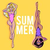 Young Beautiful Women In Swimsuit. White Blond Woman And Black Brutennte Woman. Beach Girls, Bikini, poster